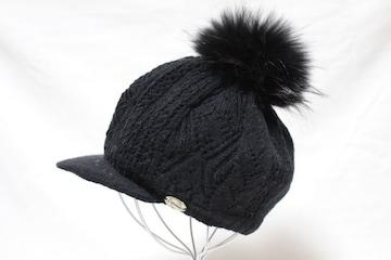 カリマー*Calimar(イタリア製)★ポンポン付きニット帽クロ/used