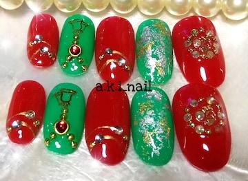 ジェルネイルチップ☆赤×グリーン☆クリスマス