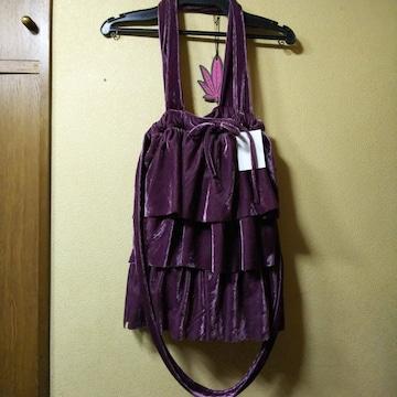 casita(レトロガール)新品ベロアフリル2wayトートバッグ/紫
