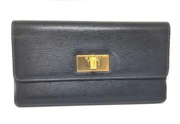 正規グッチ長財布レザー財布ブラック黒ゴールドロゴ