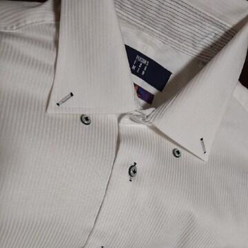 【値下げ不可】極美品!!men's 白 ストライプ柄 カッターシャツ