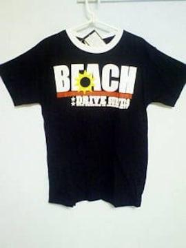 Tー48★新品★半袖サーフ系プリントTシャツ ブラック L