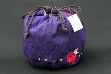 成人く式卒業式振袖小紋に♪ちりめん巾着紫きんちゃく☆着物