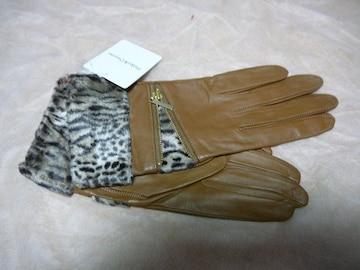 ピンキー&ダイアン革手袋フェイクファーカウスM