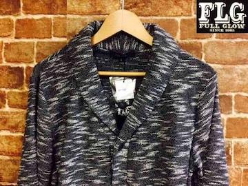 表記L/新品!ネイティブ系 スラブ織り ニット カーディガン 灰色 グランジ ロック