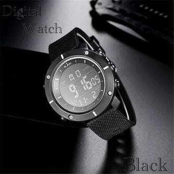 スポーツ腕時計 LED デジタル腕時計 日常 防水 腕時計 ブラック