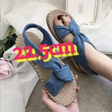 22.5cm/新品☆ぺたんこクロスサンダル/ブルー