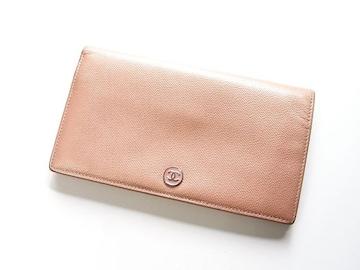 ☆送料込☆良品☆シャネル  ソフトキャビア製長財布 ピンク系