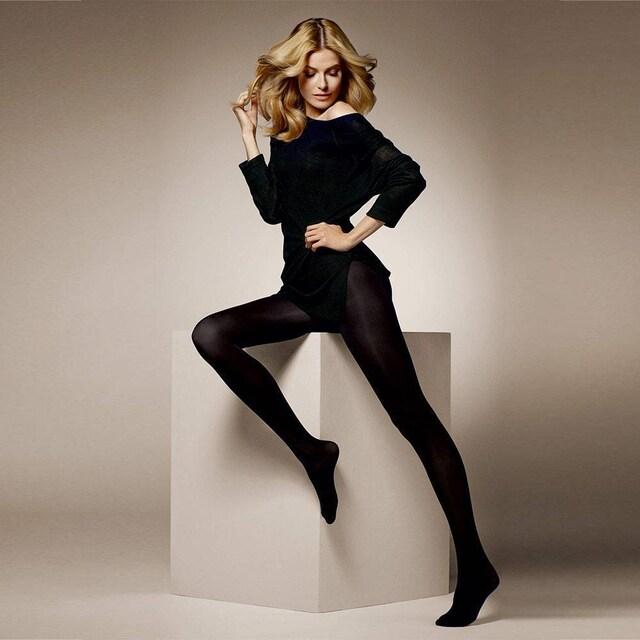 大サイズ マットな厚手マイクロファイバータイツ ブラック  < 女性ファッションの