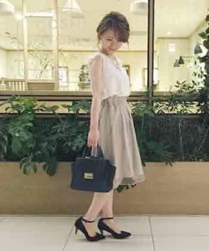 ミスティウーマン☆オーガンジー2枚仕立てタックスカート