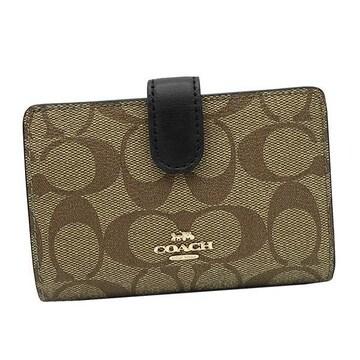 ◆新品本物◆コーチ ミディアム コーナー ジップ 2つ折財布(BK/BE)『F23553』