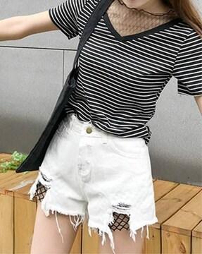 ヴィンテージ風 デニムショートパンツ(XL寸・白)