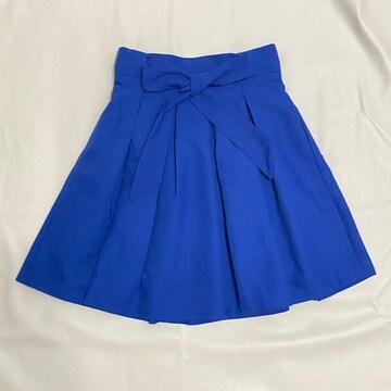 新品 リボンフレアスカート プリーツスカート 青 #S