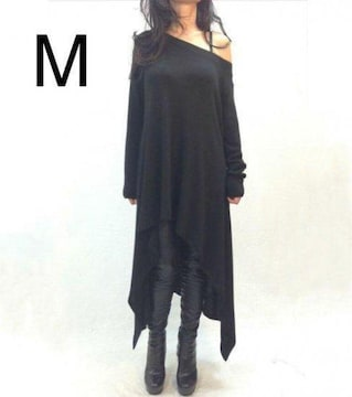 新品☆裾アシメ♪指あき ゆるワンピース ブラック M