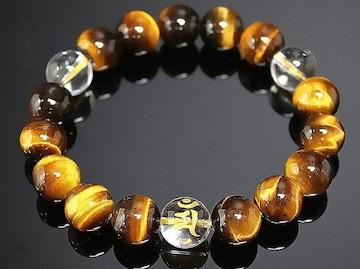 12mm/タイガーアイ梵字水晶数珠ブレスレット/アン辰巳年