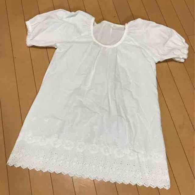 新品◆ハンドメイド◆パフスリーブ◆スカラップ半袖チュニック  < 女性ファッションの