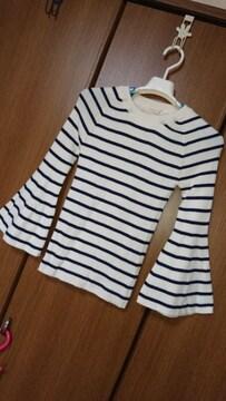 �K プルオーバー/セーター*袖フレア*白×紺/ボーダー*F
