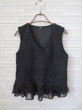 即決/DURAS/Vネックレース刺繍シフォンフリルブラウス/黒