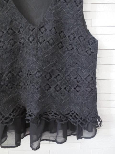 即決/DURAS/Vネックレース刺繍シフォンフリルブラウス/黒 < ブランドの