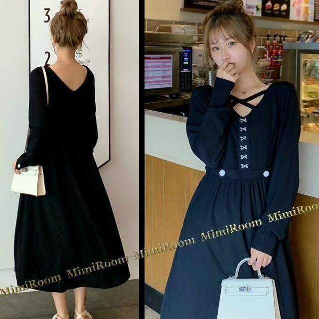 〜4L【大きいサイズ】クロス&前後Vネック☆ミモレ丈フレアワンピ < 女性ファッションの