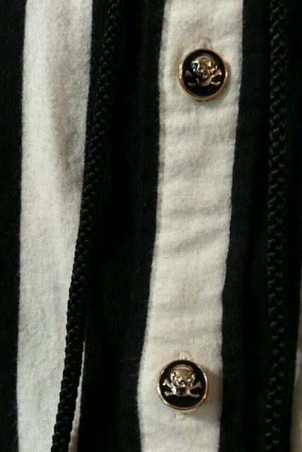 即決トライブワークスTRIBEWORKSスカル白黒ストライプネルシャツ!パンクロックロカビリースタイル < 男性ファッションの