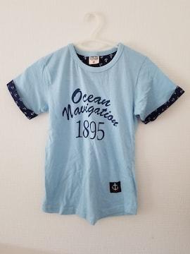 水色に青英語袖口星柄半袖Tシャツ130