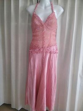 EauSouageピンク高級ビーズビジューシースルーロングドレス