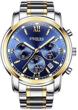 腕時計 夜光 クロノグラフ シルバー