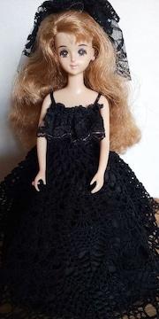 ジェニーちゃん黒のレース編みロングドレス