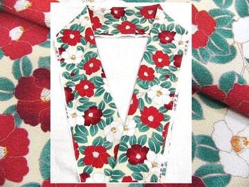 少々難あり 小紋柄のオシャレな半衿 2 象牙色地・椿柄 新品