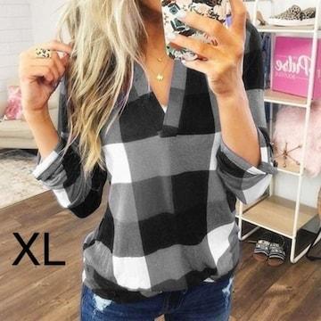 新品☆チェック柄♪胸元V ロールアップトップス ブラック XL