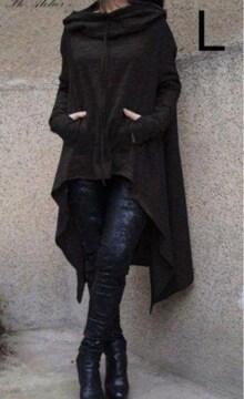 新品☆指あき♪おなかポケット♪裾アシメチュニック ブラック L
