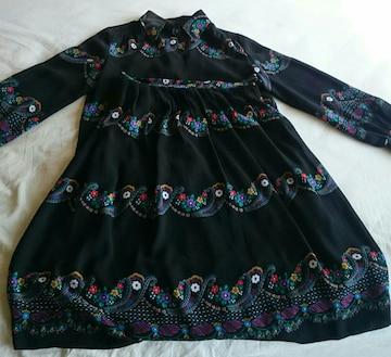 昭和ビンテージ 黒 小花柄 セットアップ ブラウス スカート