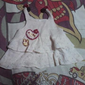 KP kids/ニットプランナーハート アップリケ 肩ボンボン 毛糸ワンピース 110�p