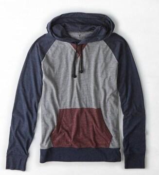 【American Eagle】AEOカラーブロックフーディーTシャツ M/グラベルヘザー