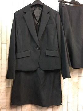 新品☆9号♪黒ストライプの2種スカート付スーツセット☆s504