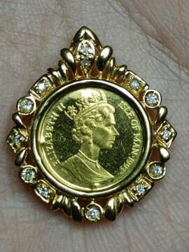 純金猫コインK18枠のダイヤモンド宝飾.美しく可愛いペントップ♪
