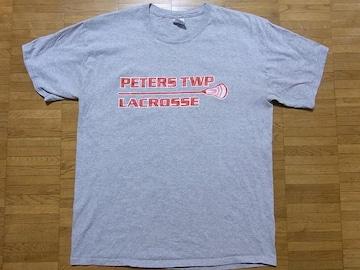 即決USA古着●鮮やかロゴデザインTシャツ灰!ビンテージアメカジ