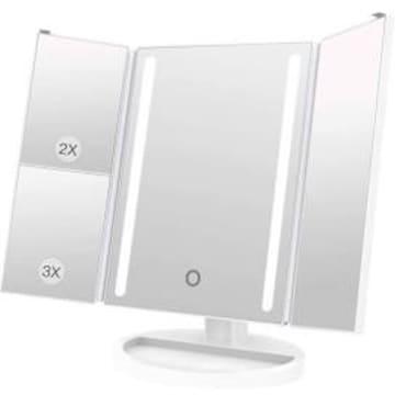 化粧鏡 YEEZEN 5-9V 持ち運び コンパクト led 三面鏡 2&3倍 無