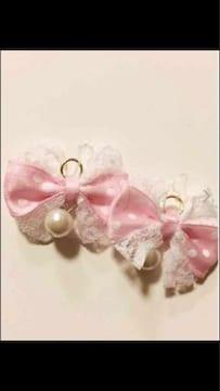 ピンクに白ドットレースりぼんパール樹脂ピアスイヤリング可能