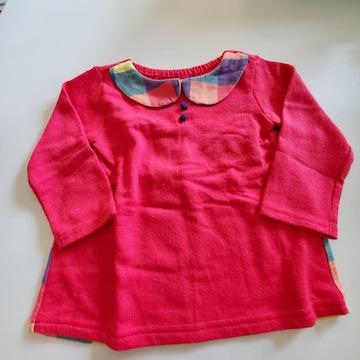 赤にうしろチェック長袖Tシャツ95