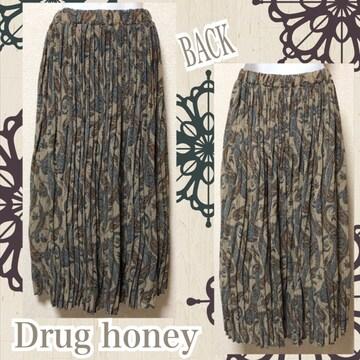 【新品/Drug honey】ペイズリー柄プリーツロンスカ