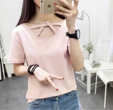 新品 デザイン Tシャツ サイズL ピンク