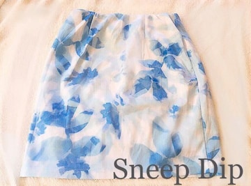 Sneep Dip【新品】水彩画 フラワータイトスカート Blueブルー