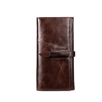 牛革 レザー ベルト留め 二つ折り財布 ブラウン
