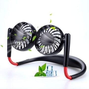 首掛け扇風機 携帯扇風機 ネックツインファン