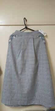 アクシーズファム♪刺繍チェック柄スカート未使用品