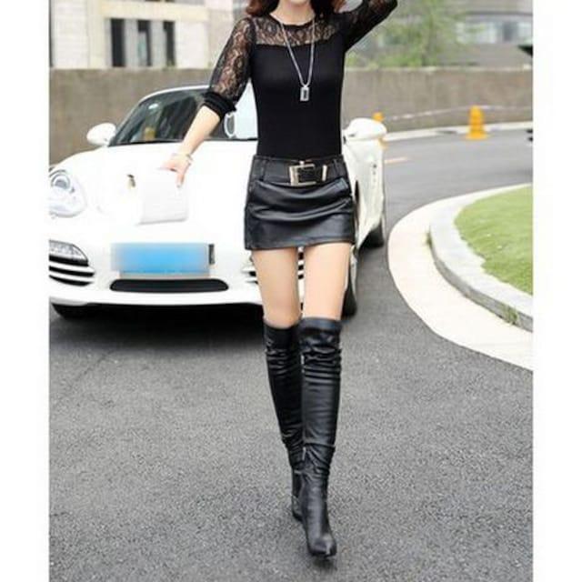 ミニスカート風★ベルト付き★レザー風ショートパンツ(M寸) < 女性ファッションの