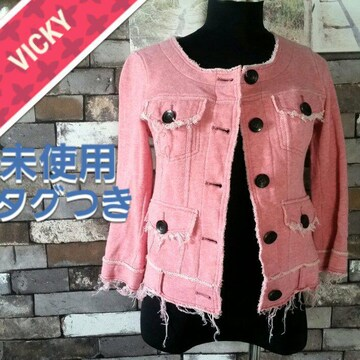 ピンク VICKY ノーカラージャケット