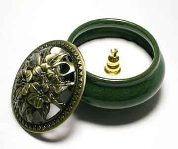 陶器 香炉  (翡翠緑) 9.5cm お香立て付 アロマポット 浄化